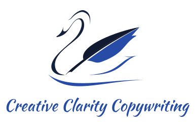 Blue Black and White Swan with quill pen wing - Creative Clarity Copywriting Logo
