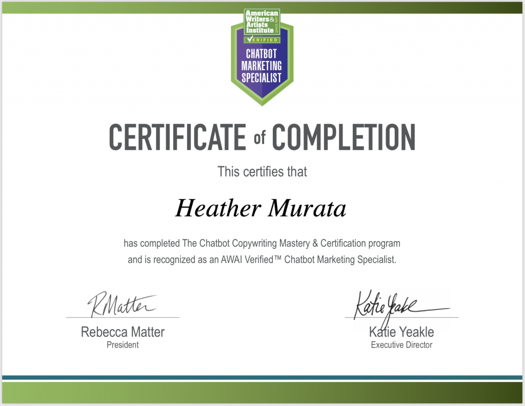 Chatbot Copywriting Mastery & Certification - Heather Murata