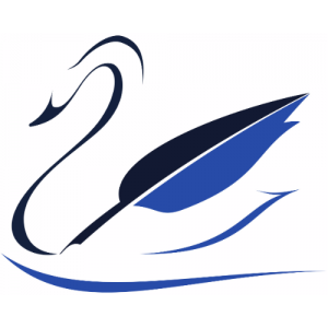 Creative Clarity Copywriting Logo - Swan with quill wing - and CCCW's chatbot ambassador