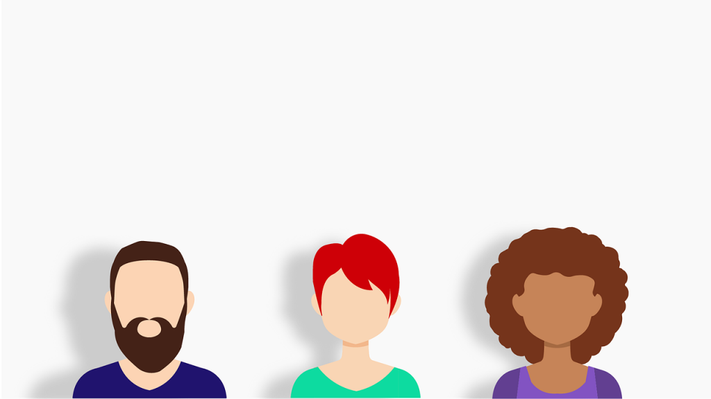 Avatar graphic of man and two women - Illustrates know your audience and the importance of customer persona projects. Demographics and statistical data are not enough.