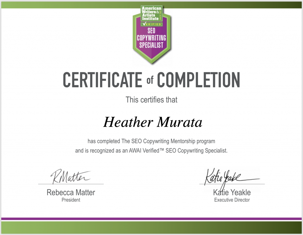 SEO Copywriting Specialist Certificate of Mastery