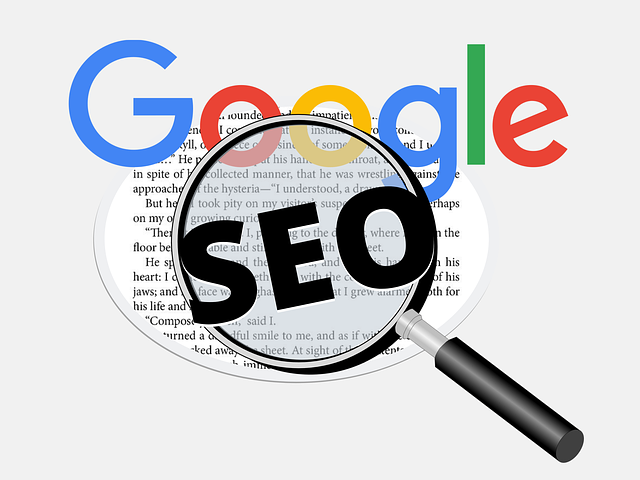 Google SEO with magnifying glass and content, indicating on-page SEO serial articles